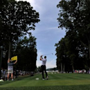 Jul 28, 2016; Springfield, NJ, USA; Jimmy Walker hits his tee shot on the fifth hole during the first round of the 2016 PGA Championship golf tournament at Baltusrol GC - Lower Course. Eric Sucar-USA TODAY Sports
