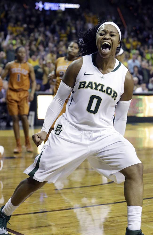 Baylor guard Odyssey Sims (0) reacts to scoring during the second half of an NCAA college basketball game against Texas, Saturday, Feb. 1, 2014, in Waco, Texas. Sims scored 44 points in the Baylor 87-73 win