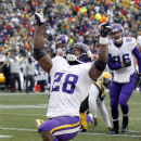 FILE - In this Nov. 24, 2013, file photo, Minnesota Vikings' Adrian Peterson celebrates after rushing for a touchdown during the first half of an NFL football game against the Green Bay Packers in Green Bay, Wis. A federal judge has cleared the way for Peterson to be reinstated. U.S. District Judge David Doty issued his order Thursday, Feb. 26, 2015, less than three weeks after hearing oral arguments.(AP Photo/Mike Roemer, File)