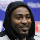 New York Giants wide receiver Hakeem Nicks speaks to the media during a news conference at the team's NFL football practice facility Thursday, April 18, 2013, in East Rutherford, N.J. . (AP Photo/Bill Kostroun)