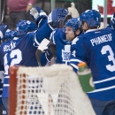 Toronto Maple Leafs' Tyler Bozak and Dion Phaneuf congratulate teammate Phil Kessel, second from right, on his goal against the Colorado Avalanche in overtime in an NHL hockey game Tuesday, Oct. 14, 2014, in Toronto The Associated Press