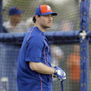 New York Mets' Daniel Murphy prepares to take batting practice during a spring training baseball workout Thursday, Feb. 26, 2015, in Port St. Lucie, Fla. The All-Star second baseman agreed last month to an $8 million, one-year contract with the Mets but he says the team has not approached him about a long-term contract. He is eligible for free agency after the World Series. (AP Photo/Jeff Roberson)