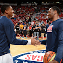 LAS VEGAS, NV - AUGUST 1: Bradley Beal #28 shakes hands with John Wall #30 shake hands prior to the game. Where the USAB scrimmaged on August 1, 2014 at the Thomas & Mack Center in Las Vegas, Nevada. (Photo by Garrett W. Ellwood/NBAE via Getty Images)