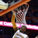 Tennessee guard Jordan McRae (52) dunks the ball in the first half of an NCAA college basketball game against Florida on Tuesday, Feb. 26, 2013, in Knoxville, Tenn. (AP Photo/Wade Payne)