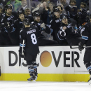 San Jose Sharks' Joe Pavelski (8) celebrates his goal with teammates during the first period of an NHL hockey game against the Anaheim Ducks Thursday, Jan. 29, 2015, in San Jose, Calif The Associated Press