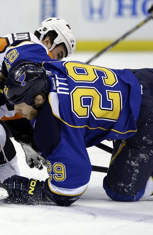 St. Louis Blues' Steve Ott, right, gets tangled up with Philadelphia Flyers' Zac Rinaldo during the second period of an NHL hockey game Tuesday, April 1, 2014, in St. Louis