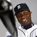 In this Feb. 23, 2014, photo, Detroit Tigers' Torii Hunter poses for a photo at baseball spring training in Lakeland, Fla. Hunter and the Tigers are laughing their way toward opening day, approaching spring camp with a mix of relaxed lightheartedness and