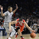 Ohio State's Aaron Craft, right, is fouled by Penn State's Tim Frazier (23) while moving into the paint during the second half of an NCAA college basketball game on Thursday, Feb. 27, 2014, in State College, Pa. Penn State won 65-63 The Associated Press