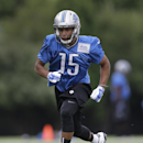 Detroit Lions wide receiver Golden Tate runs during NFL football training camp in Allen Park, Mich., Monday, July 28, 2014 The Associated Press