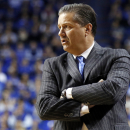 Kentucky head coach John Calipari watches his team during the second half of an NCAA college basketball game against Boston University, Friday, Nov. 21, 2014, in Lexington, Ky. Kentucky won 89-65. (AP Photo/James Crisp)