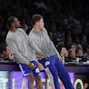 Los Angeles Clippers' Chris Paul, left, and Blake Griffin watch a shot by the Clippers during the first half of an NBA basketball game against the Los Angeles Lakers on Thursday, March 6, 2014, in Los Angeles The Associated Press