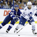 Toronto Maple Leafs right wing Phil Kessel (81) carries the puck past Tampa Bay Lightning right wing Ryan Callahan (24) during the first period of an NHL hockey game Tuesday, April 8, 2014, in Tampa, Fla The Associated Press