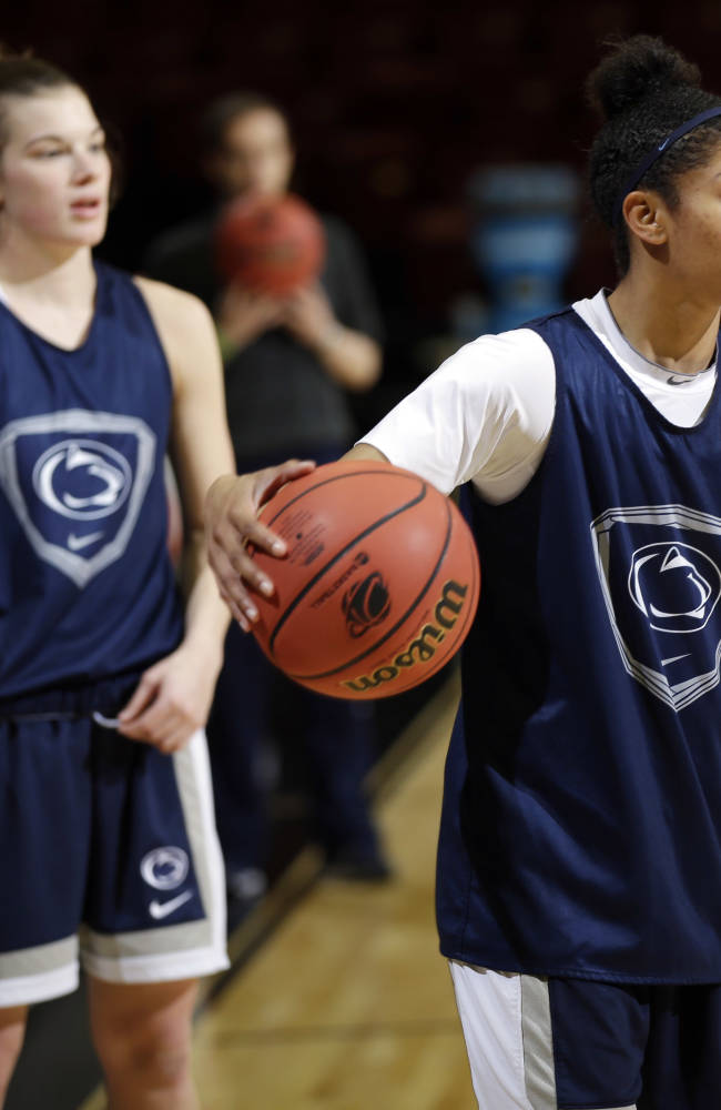 Penn State guards Dara Taylor, right, and Maggie Lucas warm up during practice at the NCAA college basketball tournament in Stanford, Calif., Saturday, March 29, 2014.  Penn State plays Stanford in a regional semifinal on Sunday