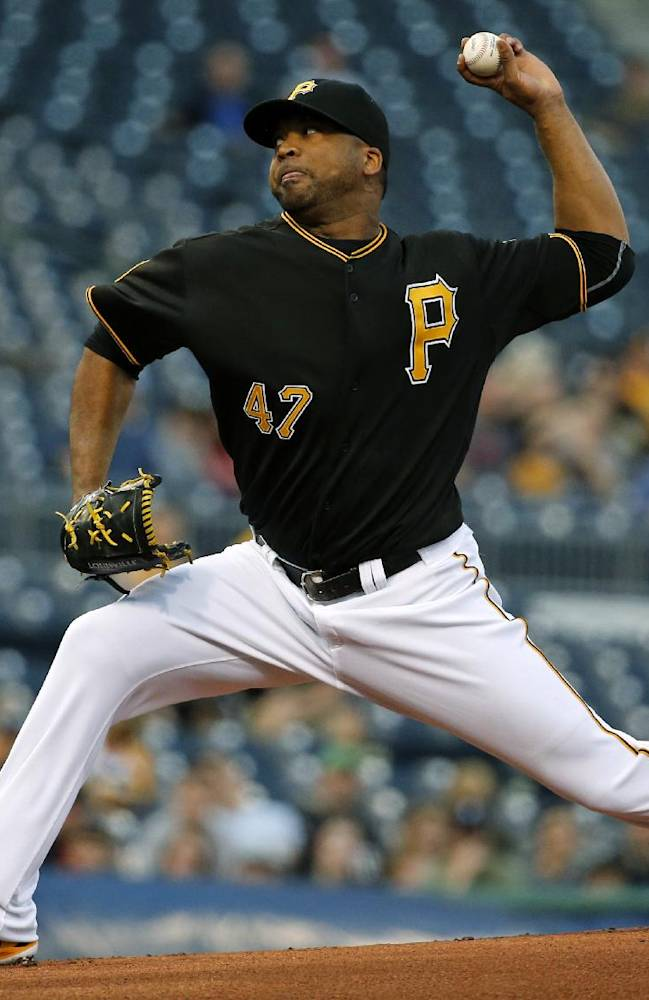 Pittsburgh Pirates starting pitcher Francisco Liriano (47) delivers during the first inning inning of a baseball game against the Cincinnati Reds in Pittsburgh Monday, April 21, 2014