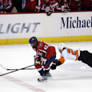 Washington Capitals right wing Joel Ward (42) skates with the puck as Philadelphia Flyers center Claude Giroux (28) dives for it in the third period of an NHL hockey game, Wednesday, Jan. 14, 2015, in Washington. The Capitals won 1-0 The Associated Press