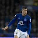 Everton's Ross Barkley takes the ball downfield during the English Premier League soccer match between Everton and Queens Park Rangers at Goodison Park Stadium, Liverpool, England, Monday Dec. 15, 2014