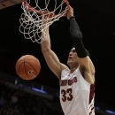 Stanford's Dwight Powell scores against Oregon State during the first half of an NCAA college basketball game on Sunday, Feb. 3, 2013, in Stanford, Calif. (AP Photo/Ben Margot)
