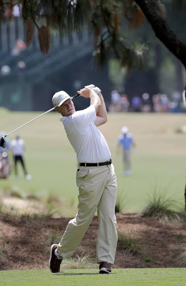 Ernie Els, of South Africa, watches his tee shot on the second hole during a practice round for the U.S. Open golf tournament in Pinehurst, N.C., Monday, June 9, 2014