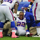 Buffalo Bills running back Fred Jackson (22) reacts after being injured during the first half of an NFL football game against the Minnesota Vikings, Sunday, Oct. 19, 2014, in Orchard Park, N.Y. (AP Photo/Gary Wiepert)