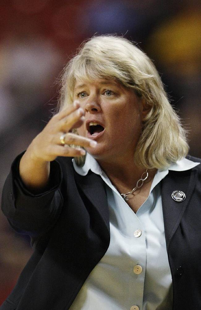 Texas - San Antonio coach Rae Rippetoe-Blair argues a call during the second half of their first-round NCAA college basketball tournament game against Baylor in Lubbock, Texas, Sunday, March 22, 2009