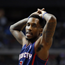Detroit Pistons point guard Brandon Jennings reacts to a foul against the Miami Heat in the third quarter of an NBA basketball game in Auburn Hills, Mich., Sunday, Dec. 8, 2013 The Associated Press