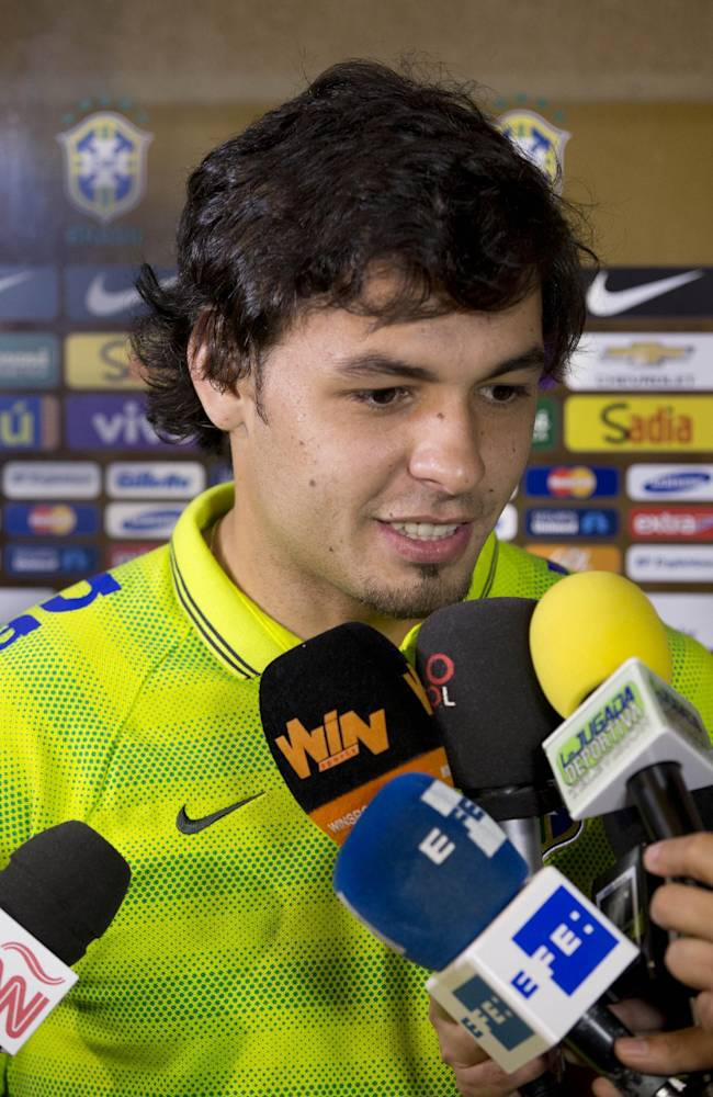 Brazil's Ricardo Goulart smiles as he is interviewed, Tuesday, Sept. 2, 2014 in Miami. Brazil will play Colombia in a soccer match, Friday, Sept. 5, at Sun Life Stadium in Miami