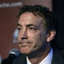 Joe Sakic answers a question during a news conference at which he was announced as the Colorado Avalanche's executive vice pr