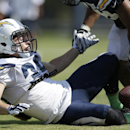 San Diego Chargers running back Danny Woodhead drops a pass during a drill at an NFL football training camp Wednesday, July 30, 2014, in San Diego The Associated Press