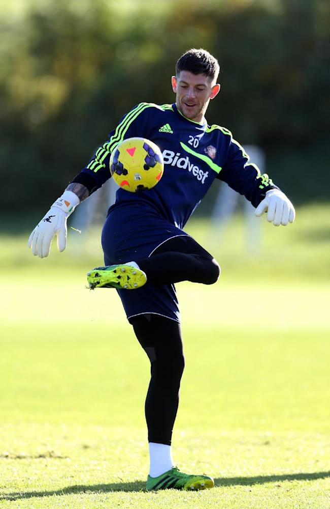 Sunderland's goalkeeper Keiren Westwood controls the ball,   during a training session at the club's training ground,  in Sunderland, England, Thursday Oct. 24, 2013. Sunderland will play Newcastle United in a Premier League match on Sunday