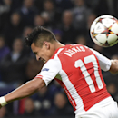 Arsenal's Alexis Sanchez tries to score with his back as he fails to head the ball in the penalty box during the Group D Champions League match between Anderlecht and Arsenal at Constant Vanden Stock Stadium in Brussels, Belgium, Wednesday Oct. 22, 2014