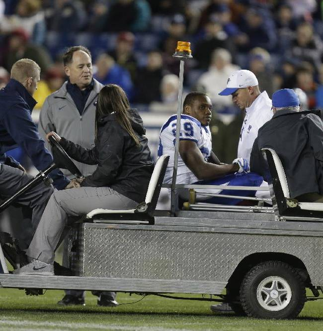 Middle Tennessee running back William Pratcher (29) is taken off the field after being injured in the fourth quarter during an NCAA college football game against Brigham Young Friday, Sept. 27, 2013, in Provo, in Utah.  BYU defeated Middle Tennessee 37-10