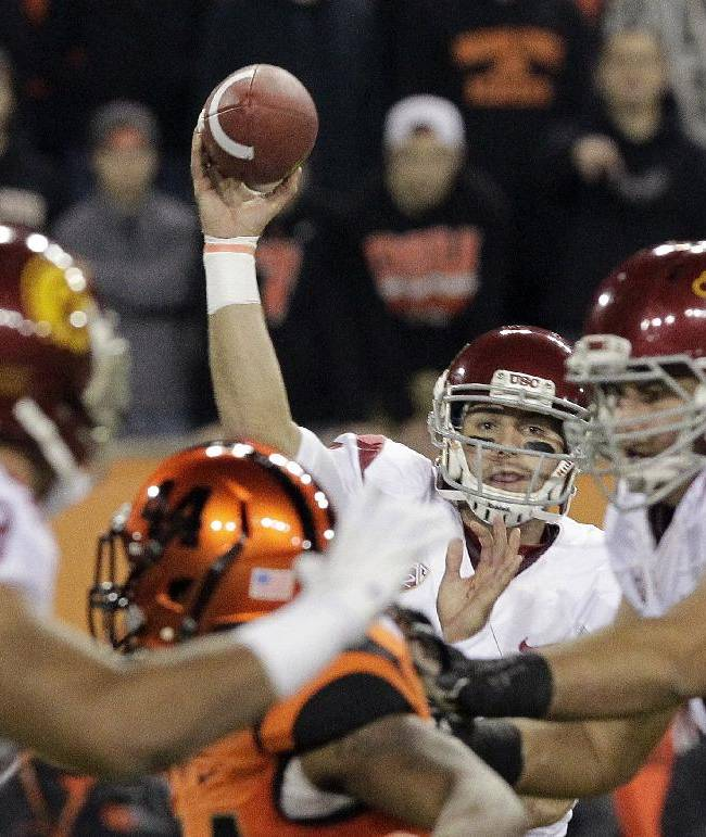 Southern California quarterback Cody Kessler passes during the first half of an NCAA college football game against Oregon State in Corvallis, Ore., Friday, Nov. 1, 2013