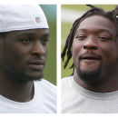 CORRECTS SPELLING OF FIRST NAME TO LEGARRETTE - FILE - From left are Pittsburgh Steelers running backs Le'Veon Bell, in a July 30, 2014, file photo, and Steelers' LeGarrrette Blount, in a Sept. 10, 2013, file photo, when he was with the New England Patriots. Steelers running backs Bell and Blount will be charged with marijuana possession following a traffic stop Wednesday afternoon, Aug. 20, 2014, near Pittsburgh. Ross Township detective Brian Kohlhepp said traffic officer Sean Stafiej pulled over a Camaro operated by Bell around 1:30 p.m. after Stafiej, who was on a motorcycle, noticed a strong odor of marijuana coming from the vehicle. Stafiej found a 20 gram bag of marijuana inside the car. Bell, Blount and a female passenger all claimed ownership of the marijuana according to police. (AP Photo/File)