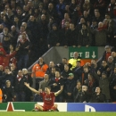 Liverpool's Steven Gerrard unsuccessfully appeals for a penalty during the Champions League Group B soccer match between Liverpool and FC Basel at Anfield Stadium in Liverpool, England, Tuesday, Dec. 9, 2014