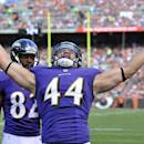 Baltimore Ravens fullback Kyle Juszczyk (44) celebrates after a 9-yard touchdown catch against the Cleveland Browns in the second quarter of an NFL football game Sunday, Sept. 21, 2014, in Cleveland. (AP Photo/David Richard)