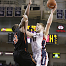 Gonzaga's Domantas Sabonis (11) shoots against Pacific's Eric Thompson (12) during the second half of an NCAA college basketball game in Spokane, Wash., Saturday, Jan. 24, 2015. Gonzaga won 91-60. (AP Photo/Young Kwak)