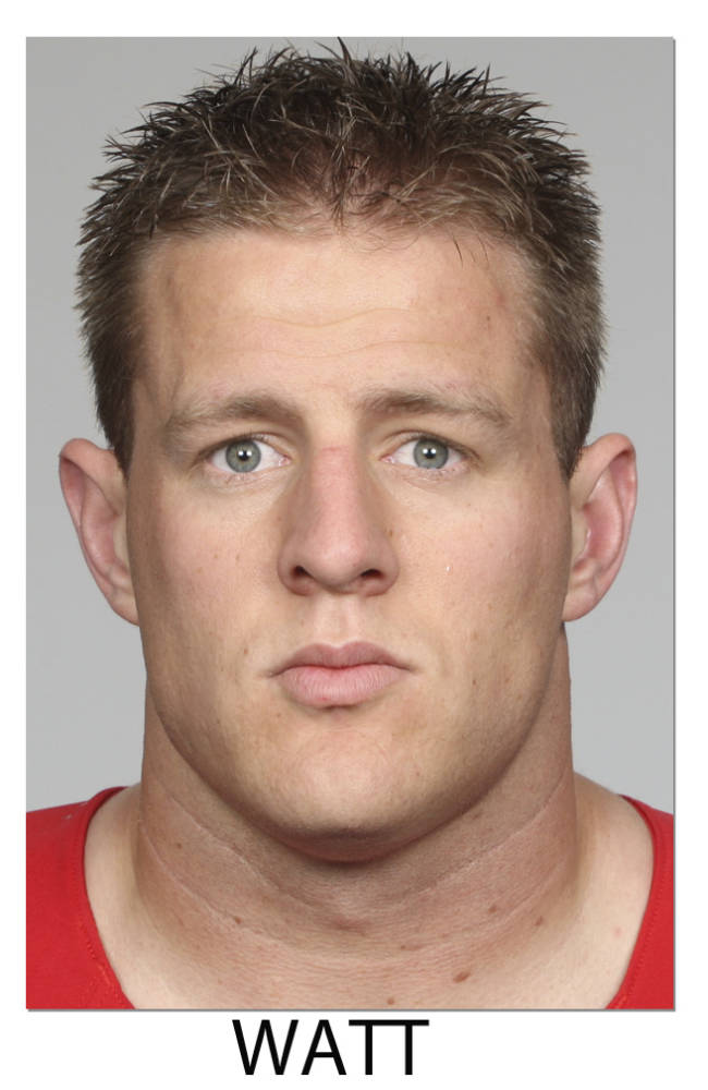 This 2013 file photos shows J.J. Watt of the Houston Texans, selected Friday, Jan. 3, 2014 to The Associated Press 2013 NFL All-Pro team defense
