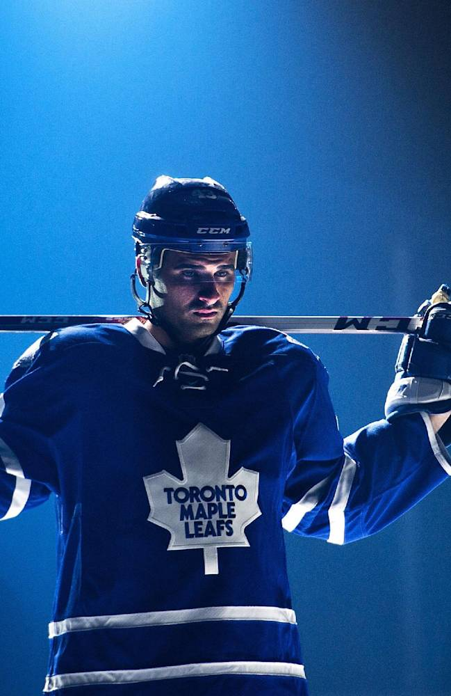 Toronto Maple Leafs NHZL hockey forward Nazem Kadri takes part in a video production on opening day of  training camp in Toronto, Wednesday, Sept. 11, 2013