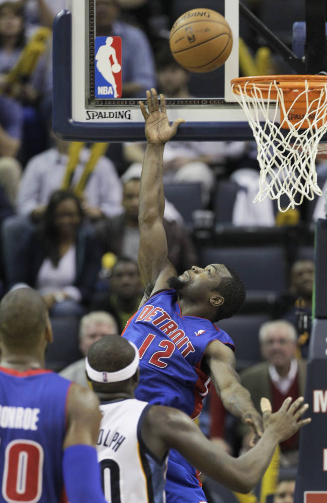 Detroit Pistons' Will Bynum (12) goes to the basket during the second half of an NBA basketball game against the Memphis Grizzlies in Memphis, Tenn., Friday, Nov. 1, 2013. The Grizzlies defeated the Pistons 111-108 in overtime