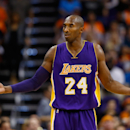 PHOENIX, AZ - OCTOBER 29: Kobe Bryant #24 of the Los Angeles Lakers reacts to a foul call during the second half of the NBA game against the Phoenix Suns at US Airways Center on October 29, 2014 in Phoenix, Arizona. The Suns defeated the Lakers 119-99. (Photo by Christian Petersen/Getty Images)