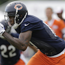 Chicago Bears wide receiver Alshon Jeffery (17) runs on the field during the team's NFL football training camp at Olivet Nazarene University on Friday, July 25, 2014, in Bourbonnais, Ill The Associated Press