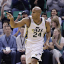 Utah Jazz's Richard Jefferson (24) points upcourt after scoring against the Orlando Magic in the first quarter during an NBA basketball game on Saturday, March 22, 2014, in Salt Lake City The Associated Press