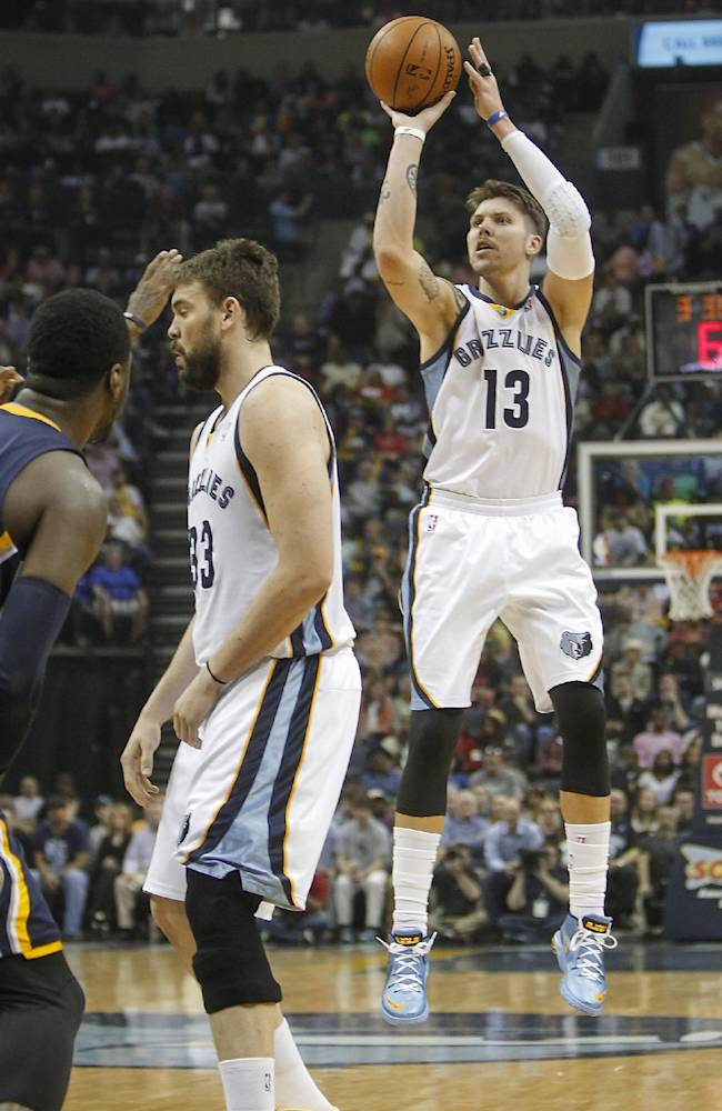 In this March 22, 2014 file photo, Memphis Grizzlies forward Mike Miller (13) takes a three-point shot with help from teammate Marc Gasol (33), of Spain, against the Indiana Pacers in the first half of an NBA basketball game in Memphis, Tenn. Miller turned into Memphis' iron man as the only player on the roster to play in all 82 games, helping them reach the playoffs. Now his 3-point shooting will be key in the first round against Oklahoma City