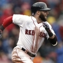 Boston Red Sox's Dustin Pedroia runs out his go ahead RBI double against the Cleveland Indians during the eighth inning of their 7-4 win in the MLB American League baseball game at Fenway Park in Boston Saturday, May 25, 2013. (AP Photo/Winslow Townson)