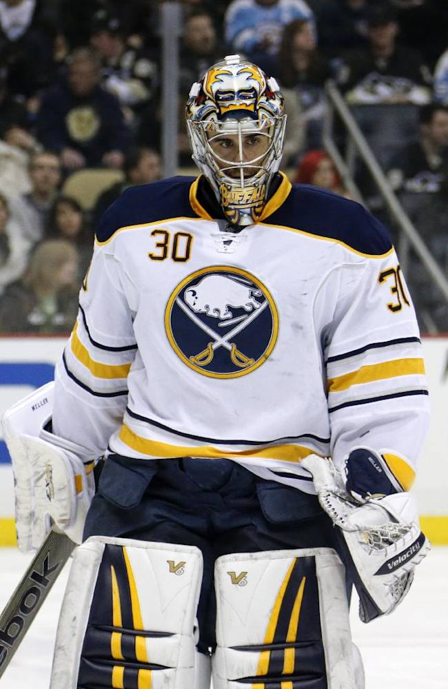 Buffalo Sabres goalie Ryan Miller (30) skates during a timeout after allowing a second period goal to Pittsburgh Penguins' Deryk Engelland during an NHL hockey game between the Pittsburgh Penguins and the Buffalo Sabres in Pittsburgh, Monday, Jan. 27, 2014. The Penguins won 3-0