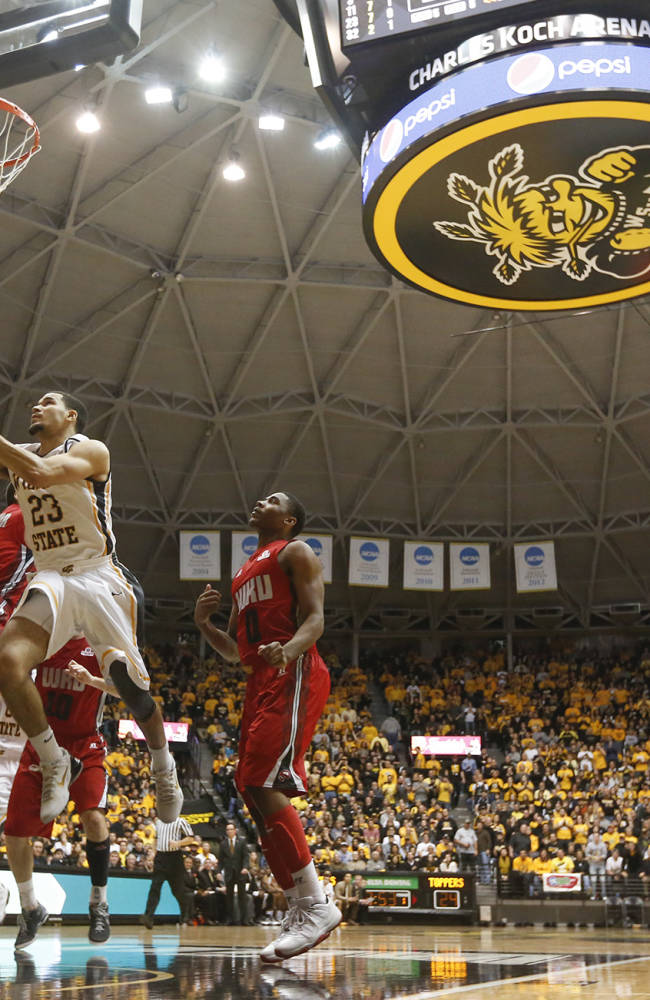 Wichita State's Fred VanVleet goes up for a shot against Western Kentucky during the first half of their NCAA college basketball game on Tuesday, Nov. 12, 2013 at Charles Koch Arena in Wichita, Kan.  VanVleet scored 17 points as Wichita State defeated Western Kentucky 66-49