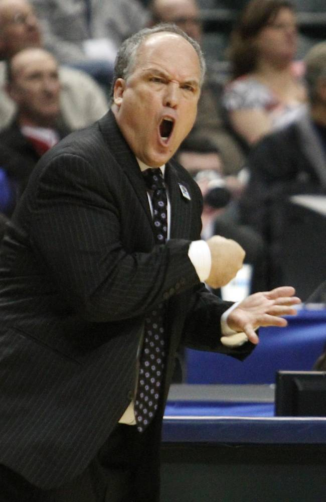 In this March 8, 2012, file photo, Nebraska head coach Doc Sadler directs his team in the first half of an NCAA college basketball game against Purdue in the first round of the Big Ten Conference tournament in Indianapolis. outhern Mississippi has hired the former Nebraska coach as its next basketball coach, the school announced Wednesday, April 30, 2014