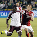 Colorado Rapids midfielder Hendry Thomas, left, and Portland Timbers midfielder Jack Jewsbury battle for the ball during the first half of their MLS soccer match in Portland, Ore., Friday, Aug. 31, 2012. (AP Photo/Don Ryan)