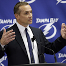 Tampa Bay Lightning general manager Steve Yzerman gestures as he talks about the trade of team captain Martin St. Louis to the New York Rangers Wednesday, March 5, 2014, in Tampa, Fla. The Lightning got Ryan Callahan and a first and conditional second rou