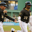 Pittsburgh Pirates' Andrew McCutchen (22) rounds third to greetings from coach Nick Leyva (16) after hitting a two-run home run off Milwaukee Brewers starting pitcher Yovani Gallardo during the first inning of a baseball game in Pittsburgh, Thursday, Apri